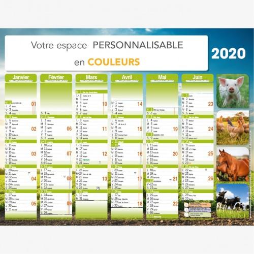 Calendrier bancaire 2021 personnalisé ANIMAUX DE LA FERME - 54x42 cm ou 43x33 cm ou 21x27 cm