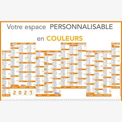 Calendrier bancaire 2021 personnalisé 14 MOIS DECALÉS - ECO - 66 x 43 cm