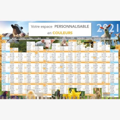 Calendrier bancaire 2021 personnalisé ANIMAUX DE LA FERME - 66 x 43 cm