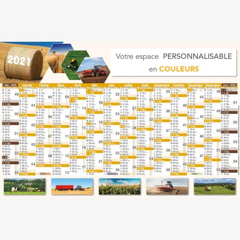 Calendrier bancaire 2021 personnalisé Agriculture   TG229   66 x 43 cm