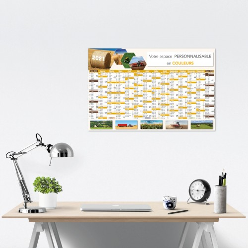 Calendrier bancaire 2021 personnalisé AGRICULTURE - 66 x 43 cm