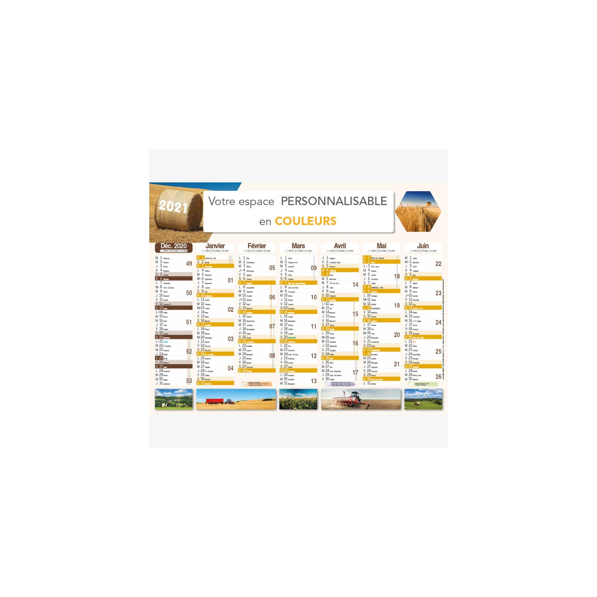 Calendrier bancaire 2021 personnalisé AGRICULTURE - 54x42 cm ou 43x33 cm ou 21x27 cm