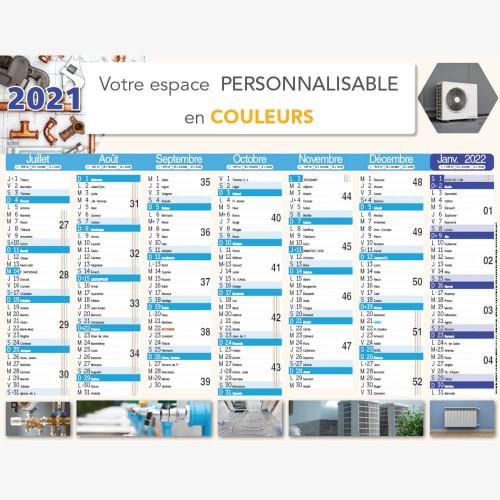 Calendrier bancaire 2021 personnalisé CHAUFFAGISTE - 54x42 cm ou 43x33 cm ou 21x27 cm