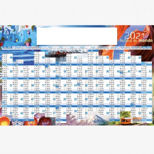 Calendrier personnalisé en ligne AUTOUR DU MONDE - 66 x 43 cm