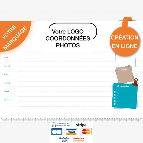 Calendrier personnalisé en ligne Sous-main publicitaire BUREAU - 48,5 x 33,5 cm