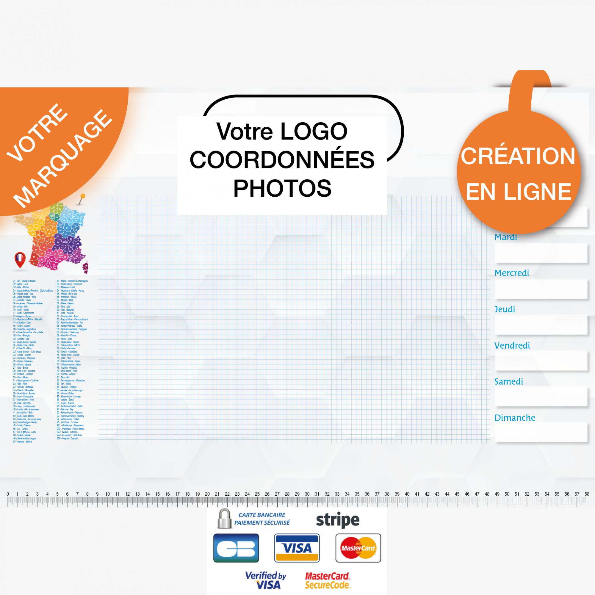 Calendrier personnalisé en ligne Sous-main publicitaire CARTE DE FRANCE - 48,5 x 33,5 cm