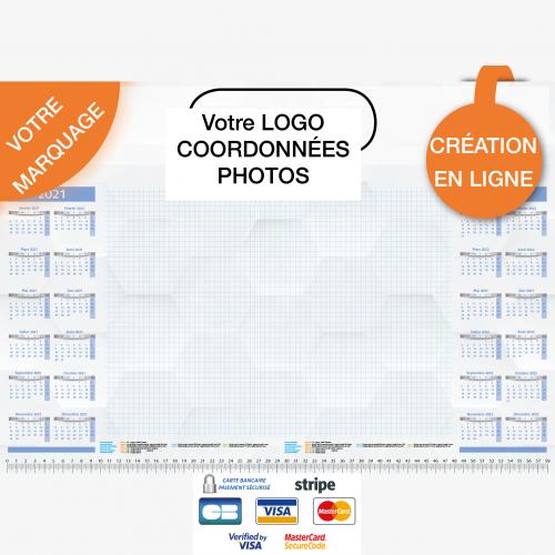 Calendrier personnalisé en ligne Sous-main publicitaire CALENDRIER 2 ANNEES - 48,5 x 33,5 cm