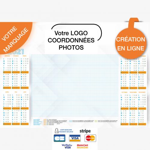 Calendrier personnalisé en ligne Sous-main publicitaire CALENDRIER - 48,5 x 33,5 cm
