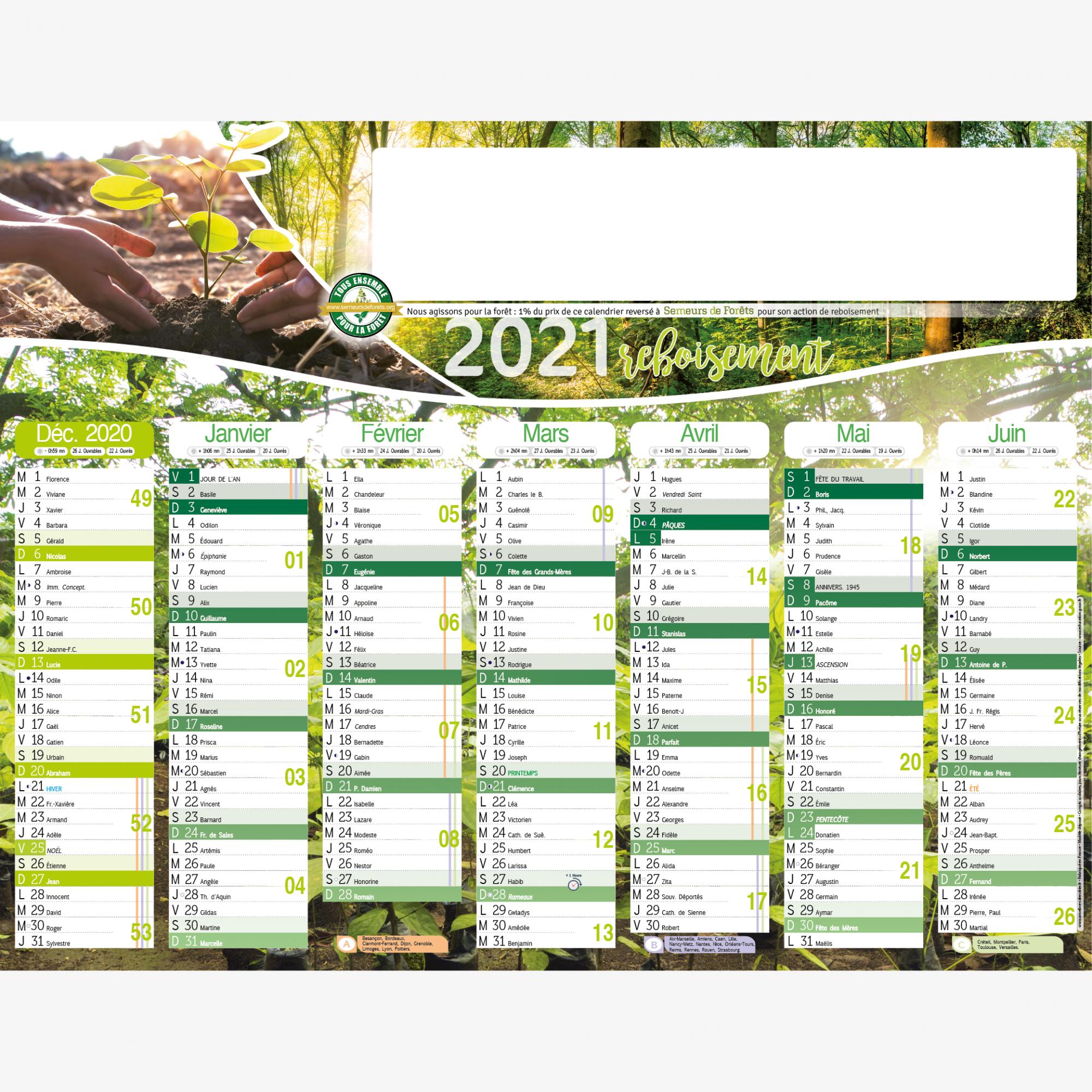 Calendrier personnalisé en ligne ACTION REBOISEMENT - 54 x 42 cm