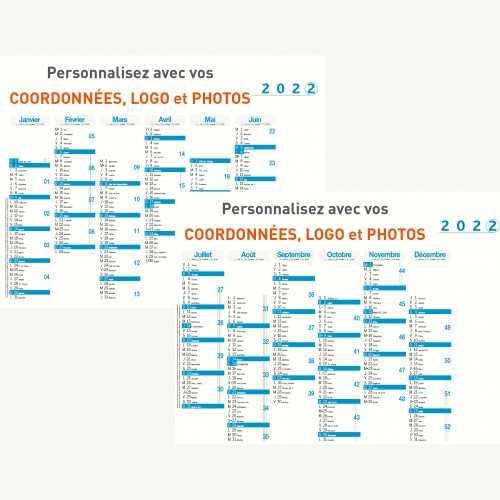 Calendrier bancaire 2022 personnalisé 6 MOIS DECALÉS - ECO - 54x42 cm ou 43x33 cm ou 21x27 cm