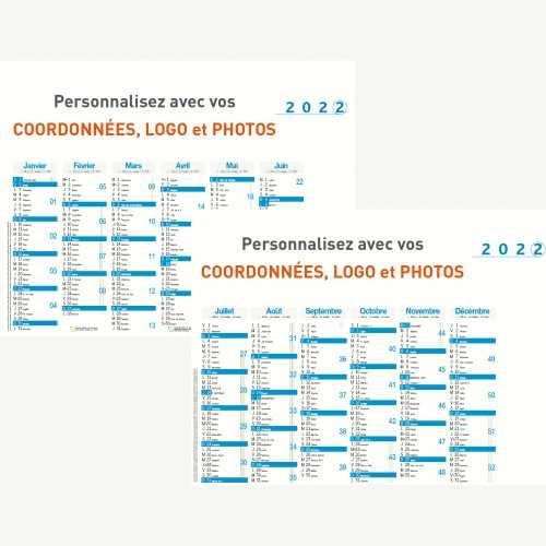 Calendrier bancaire 2022 personnalisé 6 MOIS ALIGNÉS - ECO - 54x42 cm ou 43x33 cm ou 21x27 cm