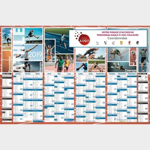 Calendrier Bancaire Personnalisé Athlétisme TG47 Recto - 66 x 43 cm