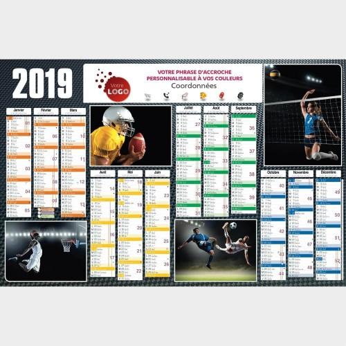 Calendrier Publicitaire Sports Collectifs TG48 - 66 x 43 cm
