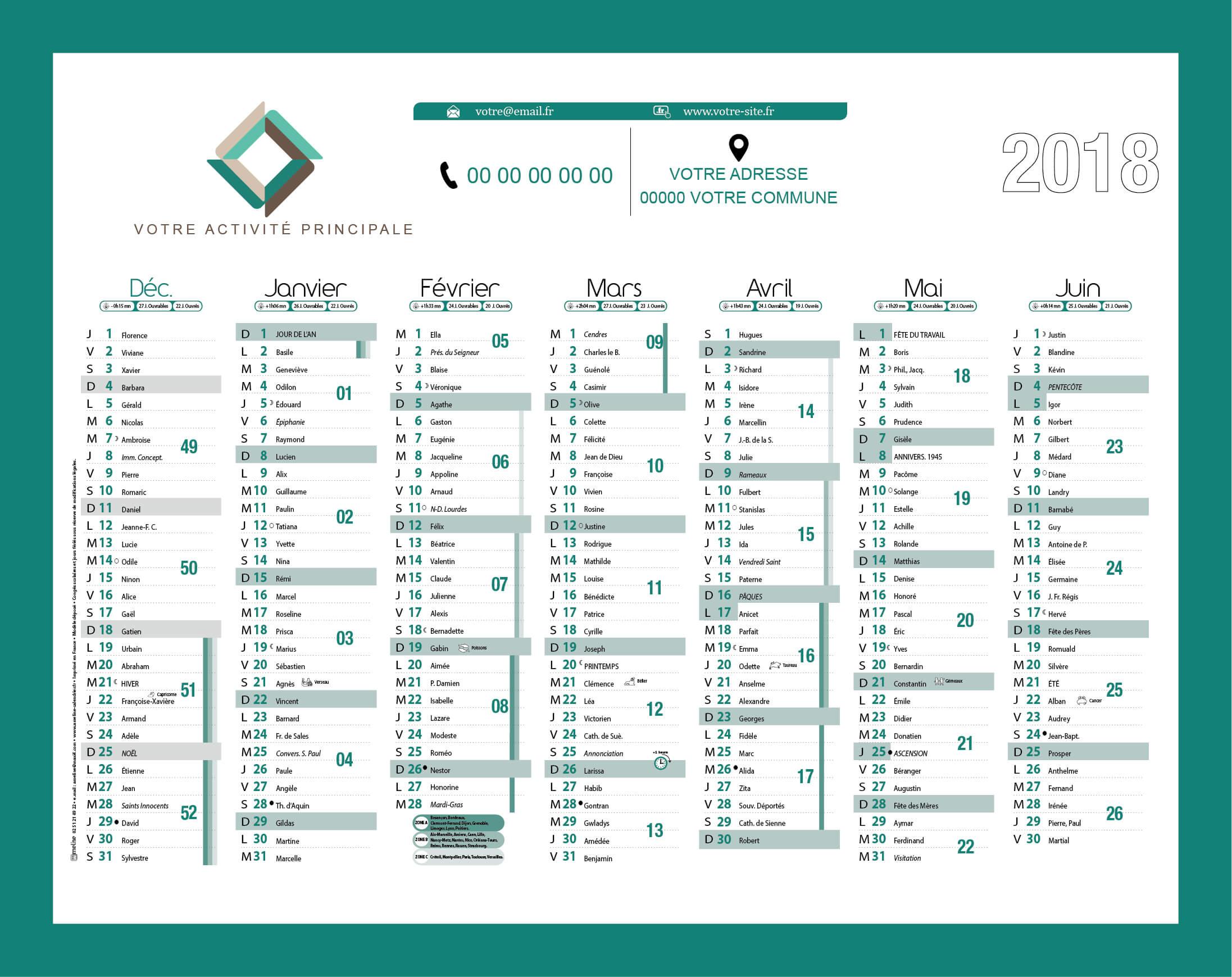 Grille personnalisée colorée calendrier publicitaire