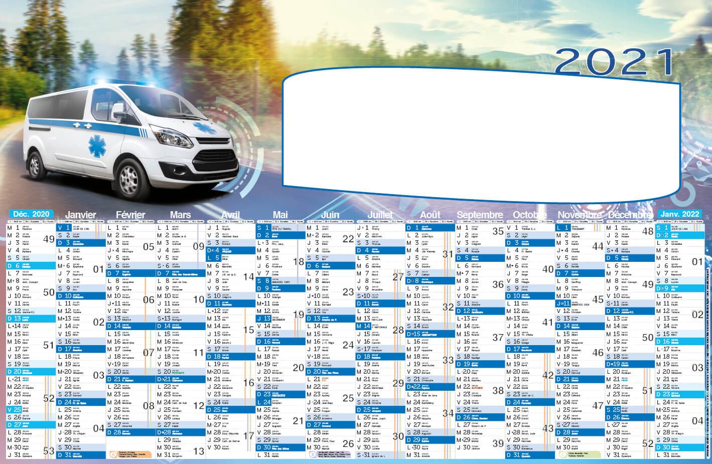 calendrier ambulance 2021