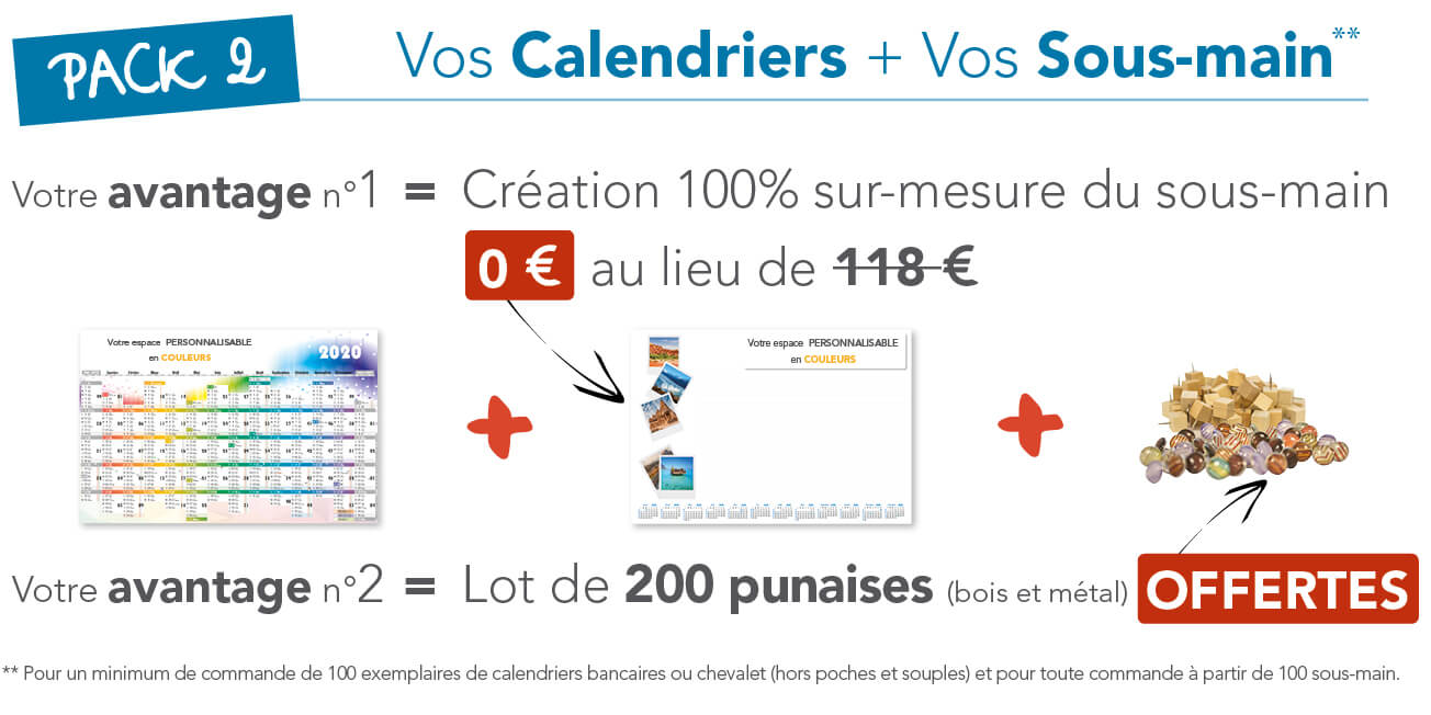 Pack sous-main + calendrier