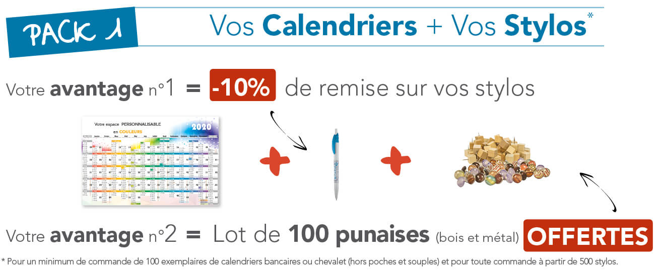 Pack stylo + calendrier